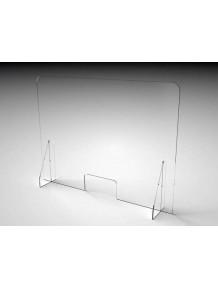 Schermo Barriera Plexiglass  mm.5 Lungh. 100 x H.72 base 21 cm con passa documenti