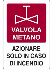 CARTELLO VALVOLA METANO / ALLUMINO CM.18X12